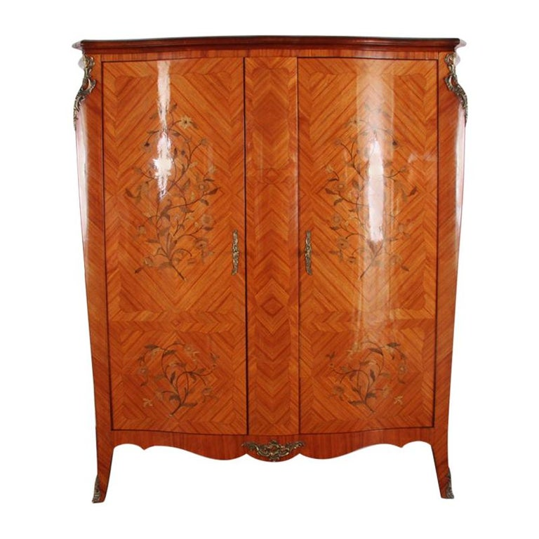 French Marquetry Bombe Armoire