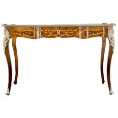 French Marquetry Bureau Plat Writing Desk