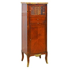 French Marquetry Gilt Bronze Mounted Marble Top Petite Cabinet with Book Door