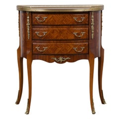 French Marquetry Louis XVI Style Demilune Side Table