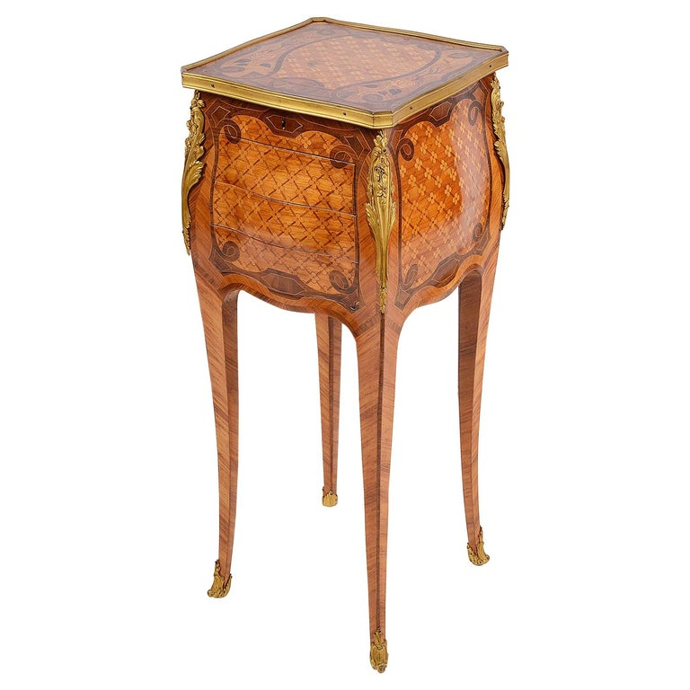 French Marquetry Side Table, circa Late 19th Century in the Style of Linke For Sale