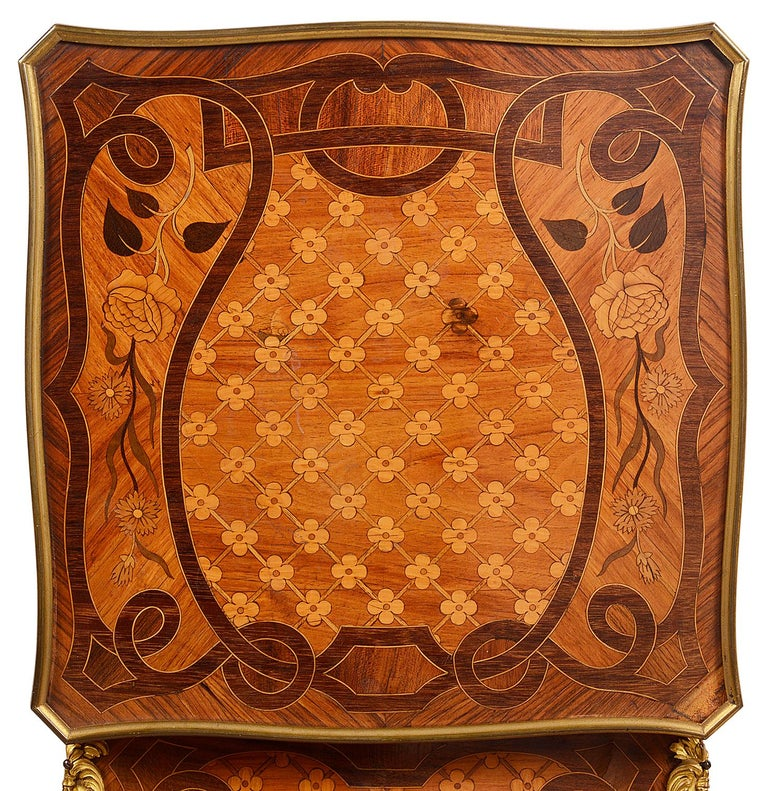 Mahogany French Marquetry Side Table, circa Late 19th Century in the Style of Linke For Sale