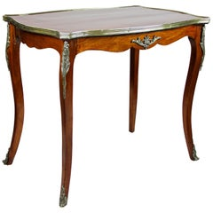 French Marquetry Side Table Napoleon III Mahogany, circa 1870