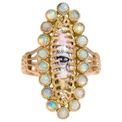 French Masquerade Ball Ring Opal Painted Face Portrait Vintage 18 Karat Gold