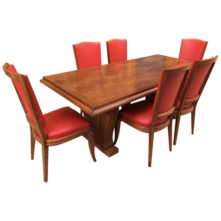 French Maxime Old Style Oak Table With 6 Chairs, 1940s For