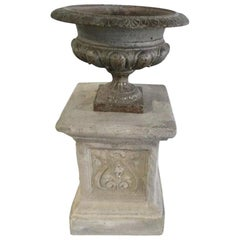 French Medici Urn and Base, Iron and Stone from France