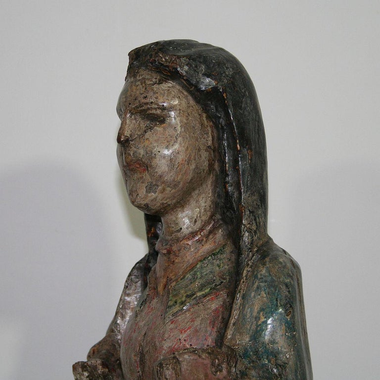 French Medieval Painted Wooden Madonna For Sale 6