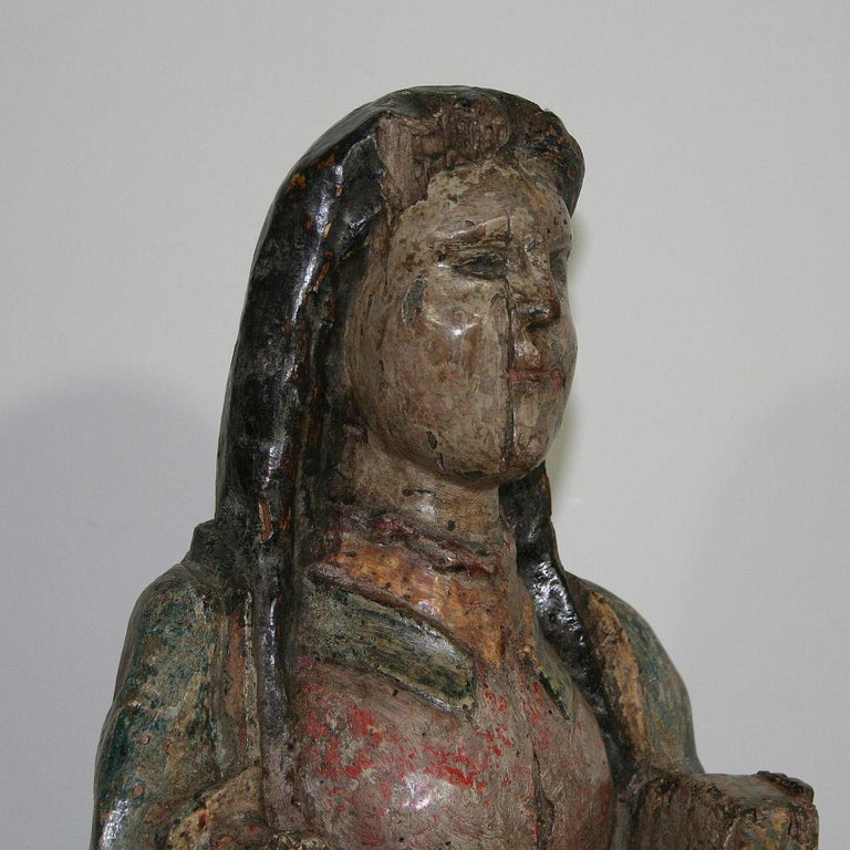 French Medieval Painted Wooden Madonna For Sale 7