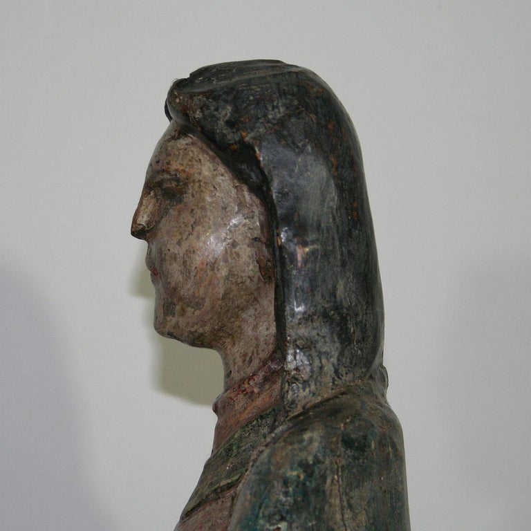 French Medieval Painted Wooden Madonna For Sale 8