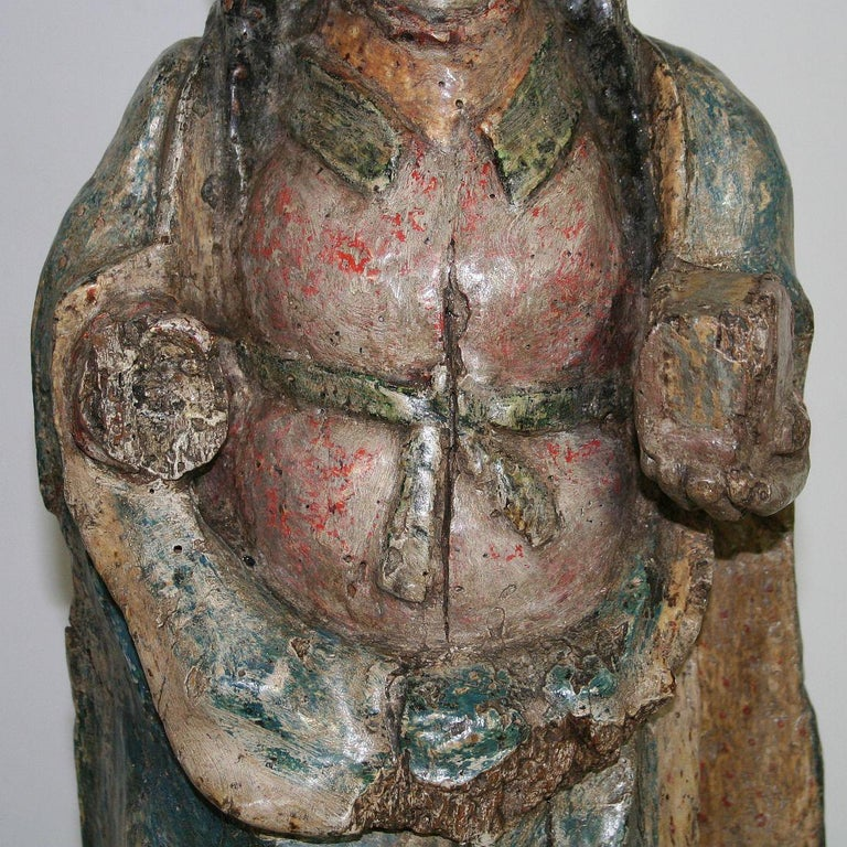 French Medieval Painted Wooden Madonna For Sale 11