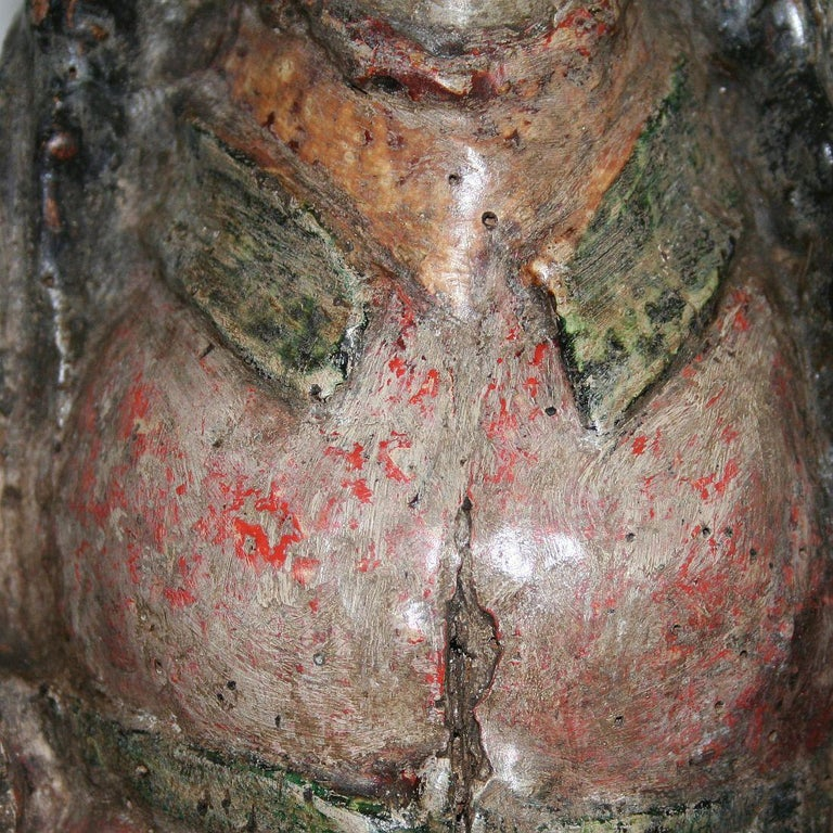 French Medieval Painted Wooden Madonna For Sale 12
