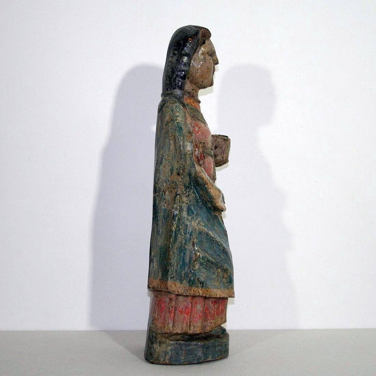 18th Century and Earlier French Medieval Painted Wooden Madonna For Sale