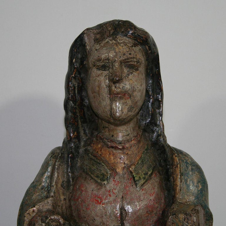 French Medieval Painted Wooden Madonna For Sale 5