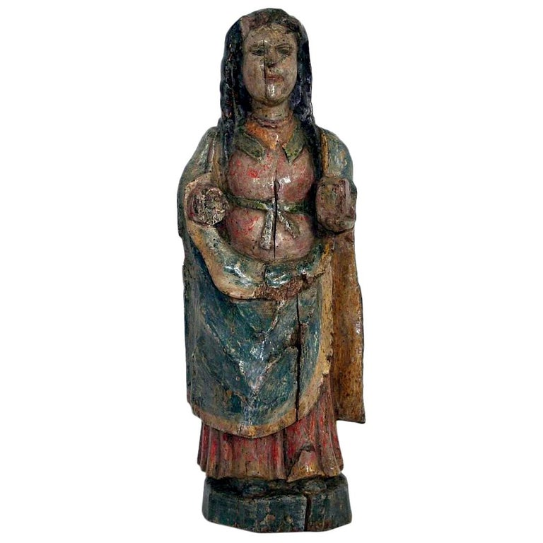 French Medieval Painted Wooden Madonna For Sale