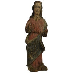 French Medieval Painted Wooden Madonna