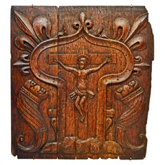 French Medieval Relief Carved Oakwood Panel Depicting the Crucified Christ