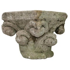 French Medieval Romanesque Carved Stone Capital