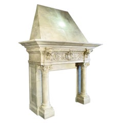French Medieval Style Wooden Mantel Painted in Faux Limestone