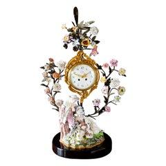 French Meissen Porcelain Mantel Clock by Baltazar