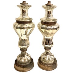 French Mercury Glass Table Lamps