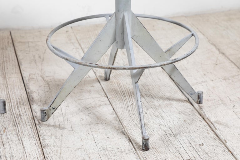 French Metal and Wood Industrial Swivel Stool For Sale 6