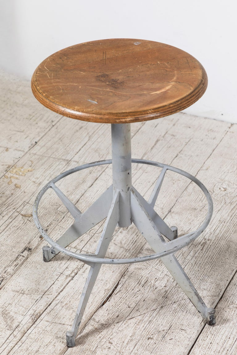 Mid-20th Century French Metal and Wood Industrial Swivel Stool For Sale