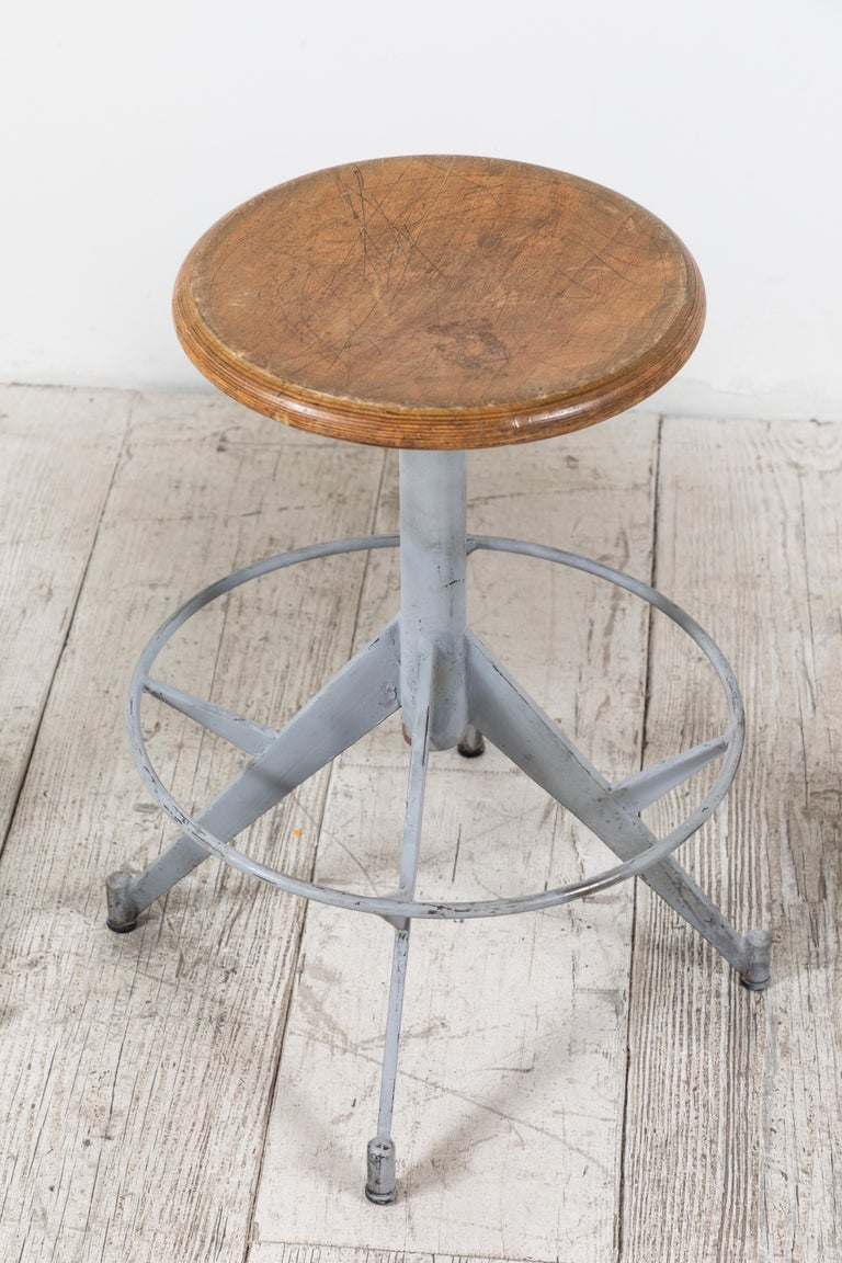 French Metal and Wood Industrial Swivel Stool For Sale 1
