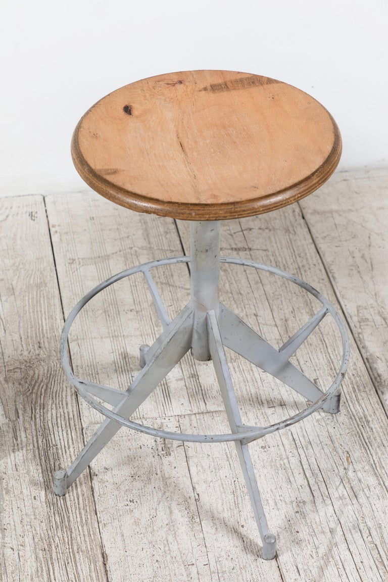 French Metal and Wood Industrial Swivel Stool For Sale 2