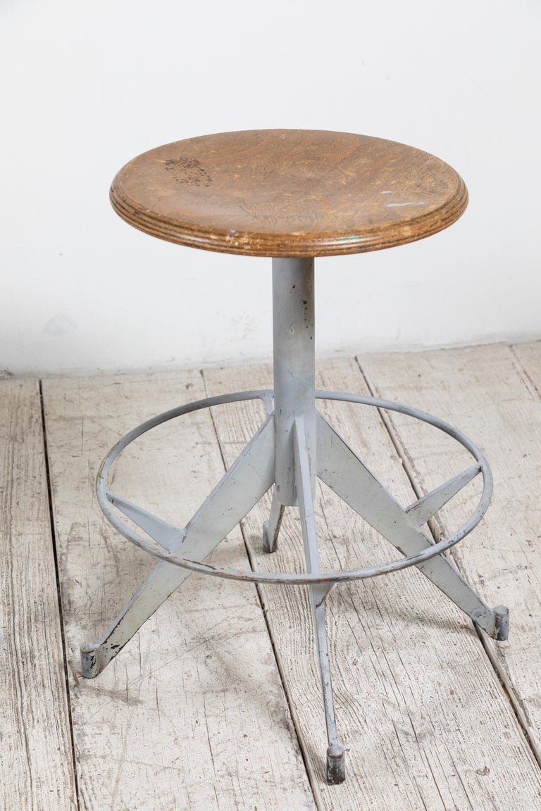 French Metal and Wood Industrial Swivel Stool For Sale 3