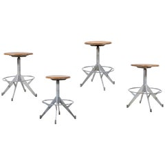 French Metal and Wood Industrial Swivel Stool