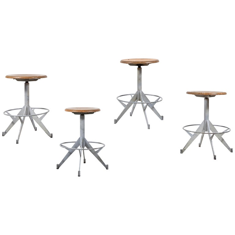 French Metal and Wood Industrial Swivel Stool For Sale