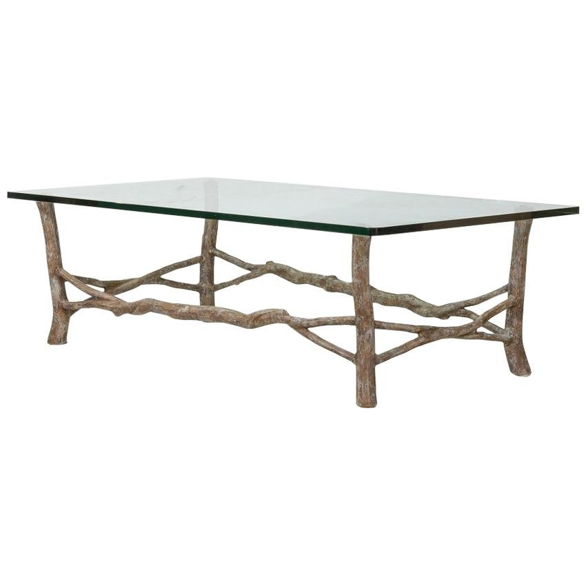 French Metal Faux Bois Glass Top Coffee Table
