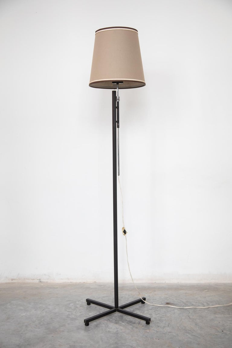 Mid-Century Modern French Metal Floor Lamp, Adjustable Shade by Roger Fatus for Disderot, 1960s For Sale