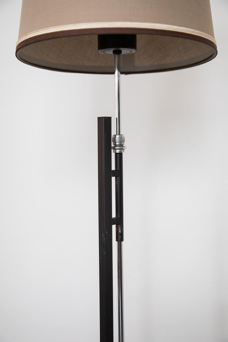 Lacquered French Metal Floor Lamp, Adjustable Shade by Roger Fatus for Disderot, 1960s For Sale