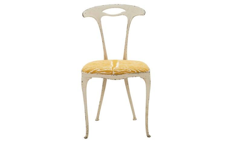 Painted French Metal Frame Chair Upholstered in Brunschwig & Fils Le Zebre Saffron For Sale
