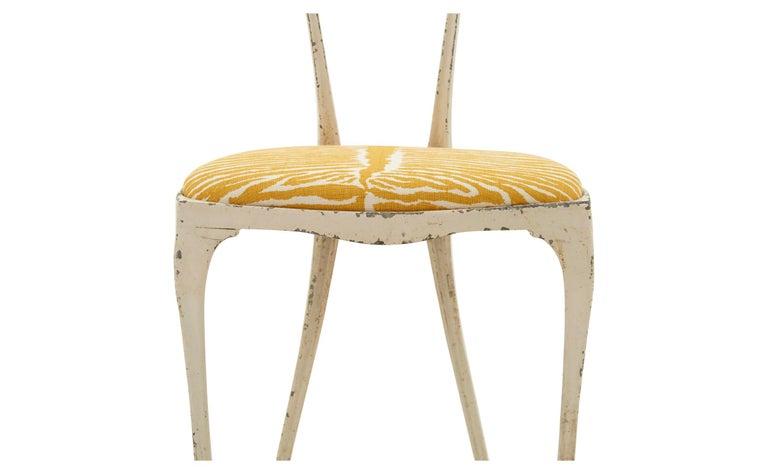 French Metal Frame Chair Upholstered in Brunschwig & Fils Le Zebre Saffron For Sale 1