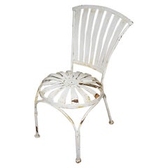 French Metal Outdoor Springer Patio Chair in White by Francois Carre