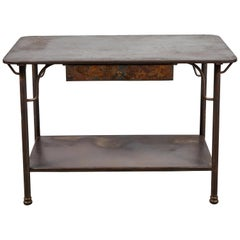 French Metal Table with Drawer