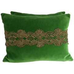 French Metallic Lace Appliqued Silk Velvet Pillows, Pair