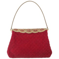French Micro Bead Ruby Red Evening Handbag, 1950's