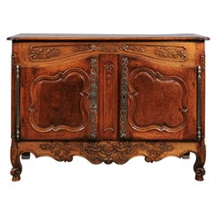 French Mid 18th Century Louis XV Carved Walnut Buffet, Provence
