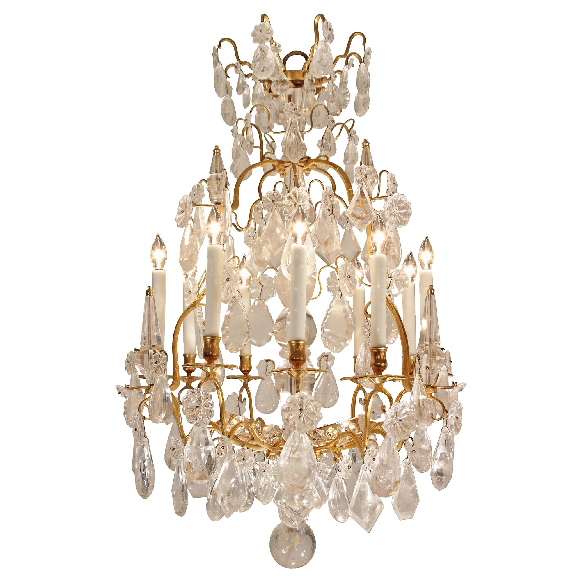 French Mid-18th Century Louis XV Period Rock Crystal and Ormolu Chandelier