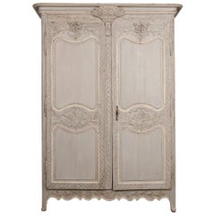 French Mid-18th Century Transitional Painted Marriage Armoire