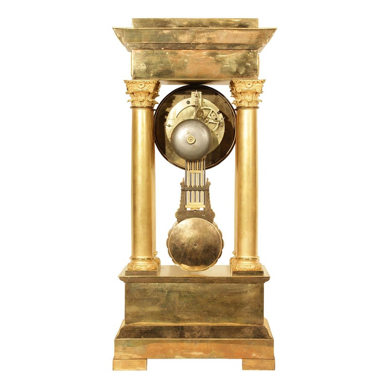 French Mid-19th Century Empire Style Ormolu Portico Clock In Excellent Condition For Sale In West Palm Beach, FL