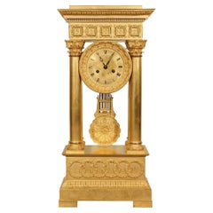 French Mid 19th Century Empire St. Ormolu Portico Clock