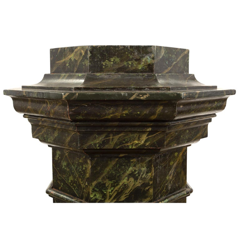 French Mid-19th Century Faux Painted Marble Octagon Shaped Pedestal In Excellent Condition For Sale In West Palm Beach, FL