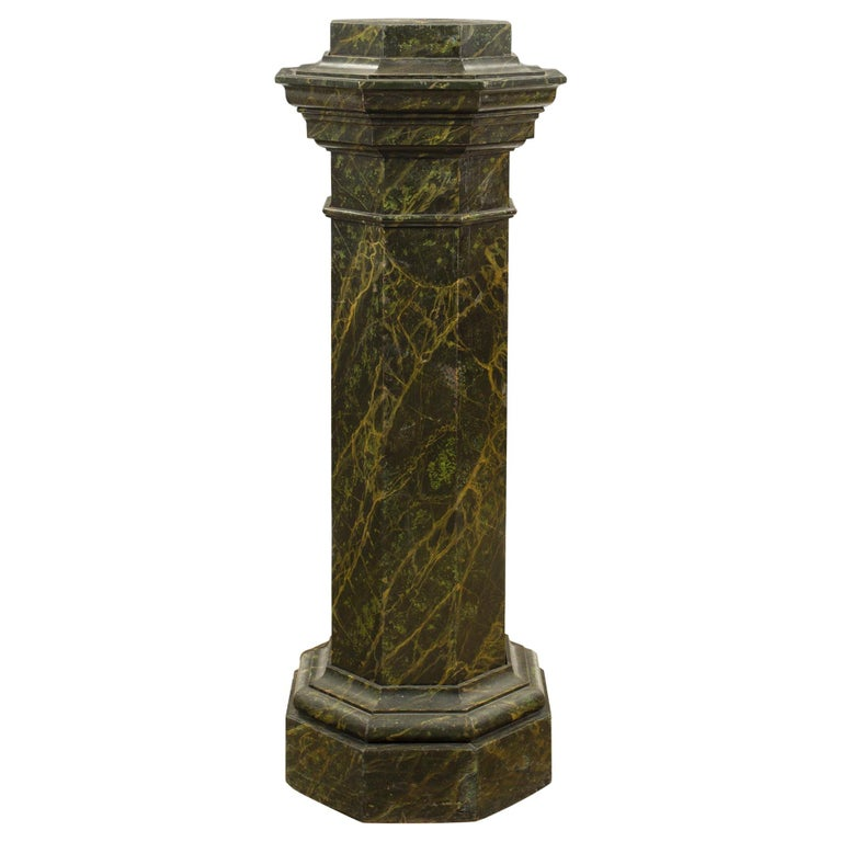 French Mid-19th Century Faux Painted Marble Octagon Shaped Pedestal For Sale