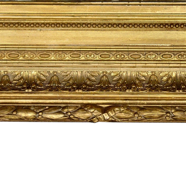 French Mid-19th Century Giltwood Louis XVI Style Mirror In Excellent Condition For Sale In West Palm Beach, FL