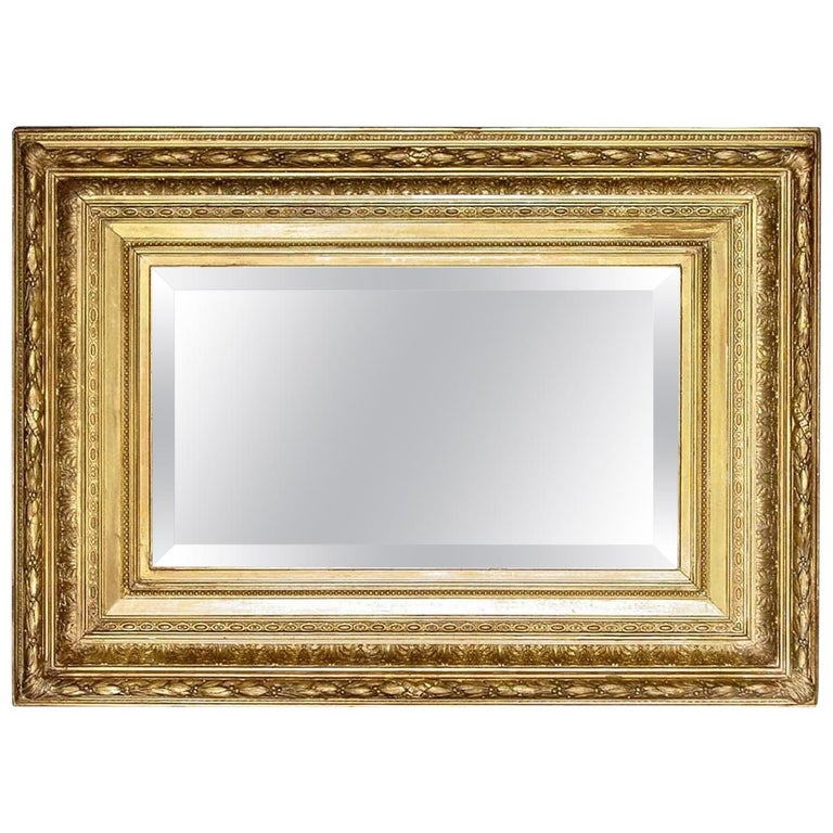 French Mid-19th Century Giltwood Louis XVI Style Mirror For Sale