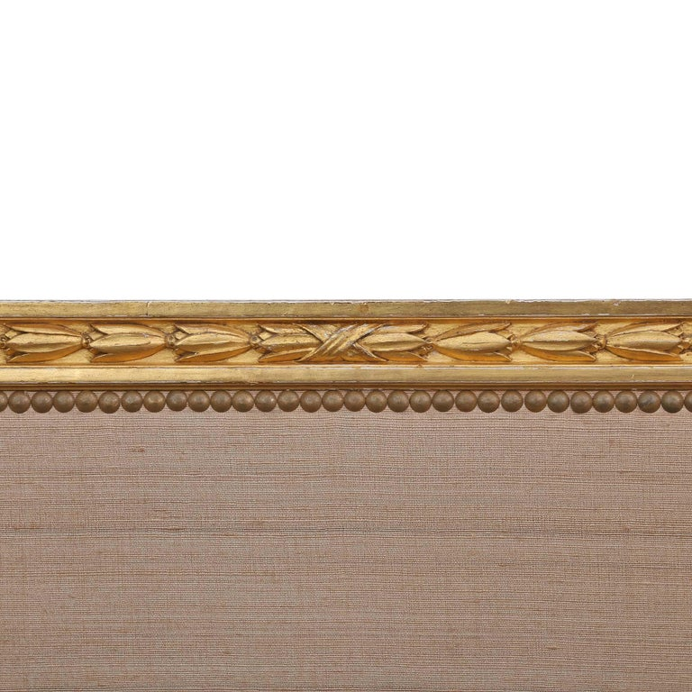 French Mid-19th Century Giltwood Louis XVI St. Three Panel Screen In Excellent Condition For Sale In West Palm Beach, FL